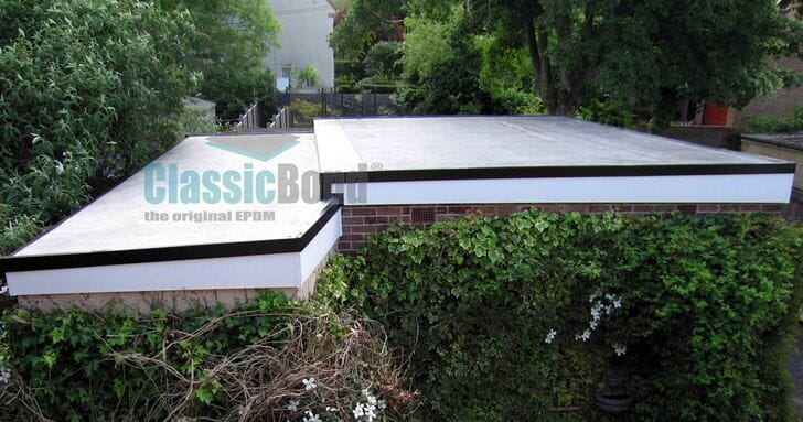Garage roof with the Classicbond EPDM one piece diy rubber roofing membrane for flat roofs