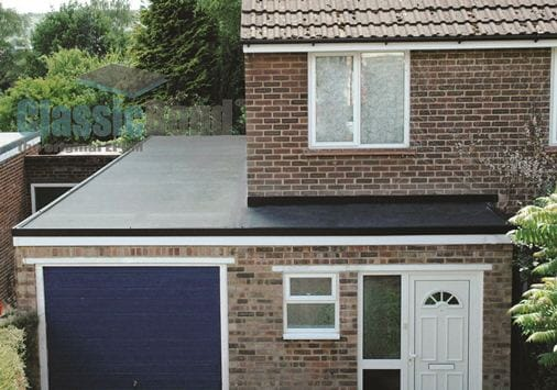 Kitchen roof with the Classicbond EPDM one piece diy rubber roofing membrane for flat roofs