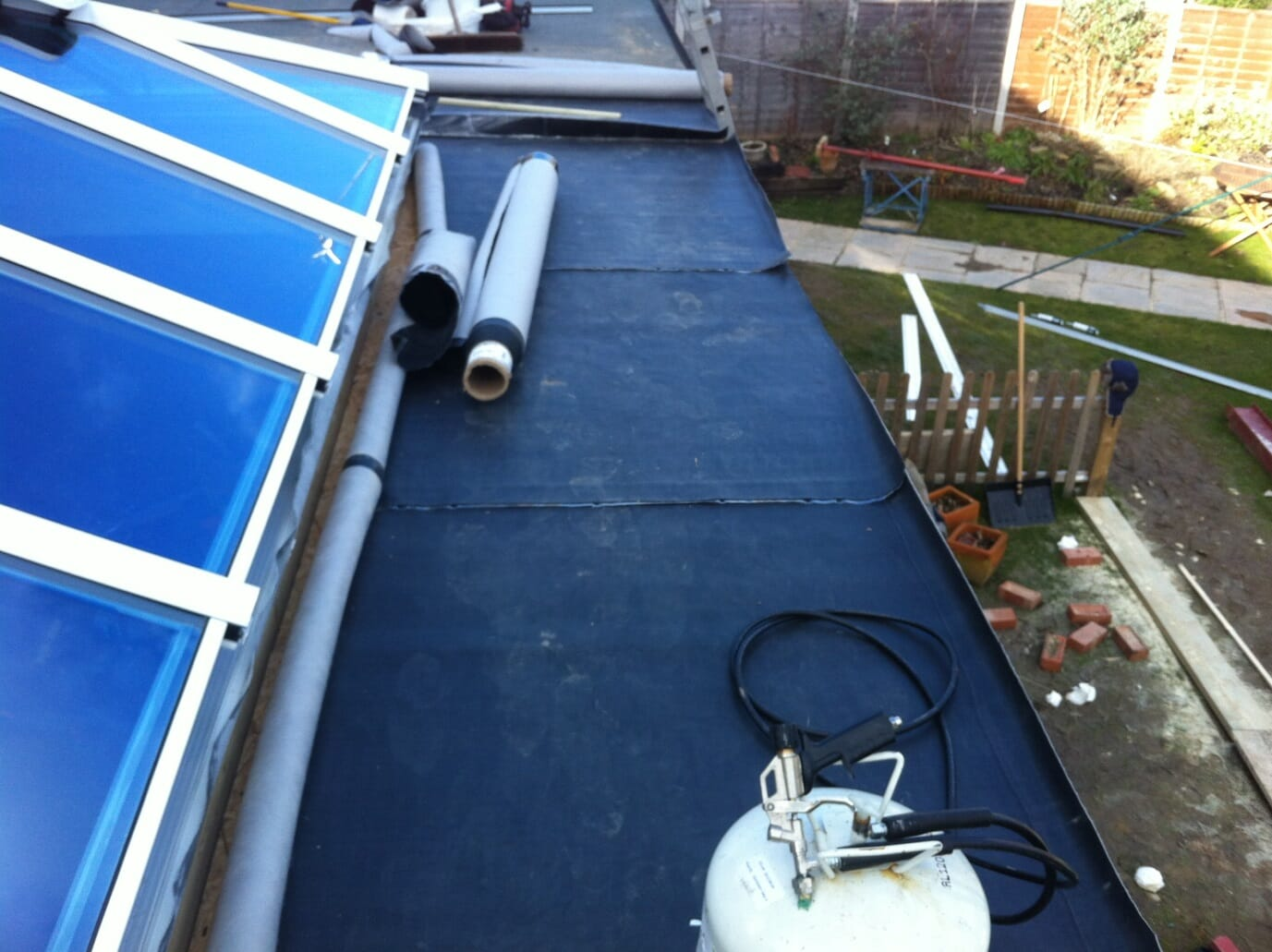 Orangery roof construction, repair and replacement with a Duoply EPDM rubber roofing membrane